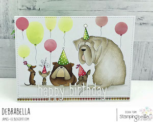 www.stampingbella.com: Rubber stamp used: PARTY DOGS. Card by Debra James