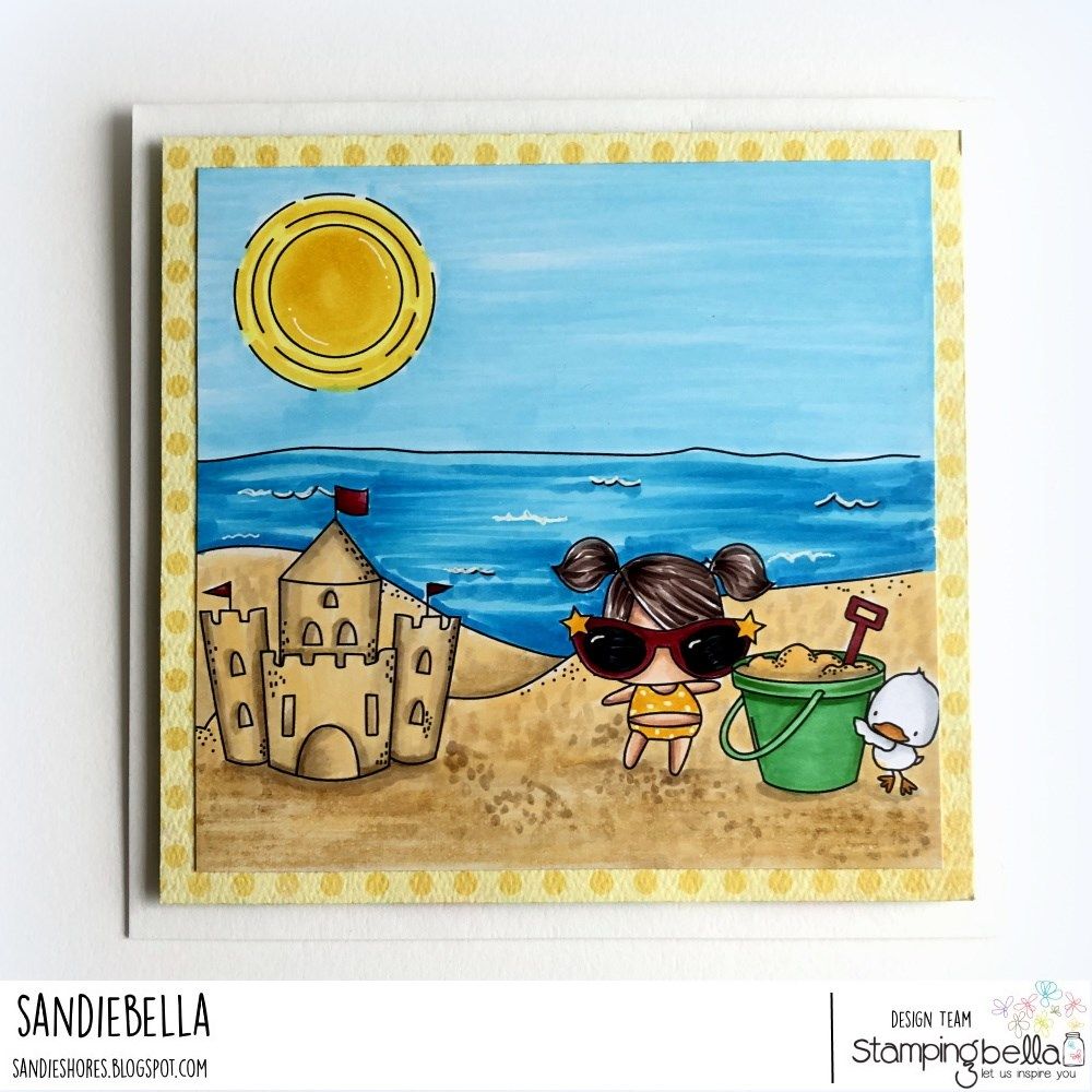 www.stampingbella.com: rubber stamps used: LITTLE BITS SANDCASTLE SET, BEACH BACKDROP  Card by Sandie Dunne