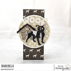 www.stampingbella.com: rubber stamp used: Staffie and ENGLISH BULL TERRIER, card by Sandie Dunne
