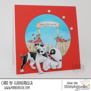 www.stampingbella.com: rubber stamp used: Staffie and ENGLISH BULL TERRIER, card by Elaine Hughes