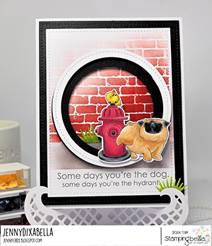 www.stampingbella.com: rubber stamp used: The Pug and the Hydrant, card by Jenny Dix