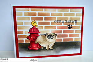www.stampingbella.com: rubber stamp used: The Pug and the Hydrant, card by STEPHANIE HILL