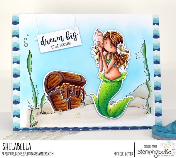 www.stampingbella.com: rubber stamps used:  UNDER THE SEA BACKDROP, Tiny Townie MERMAID SET.  Card by Michele Boyer