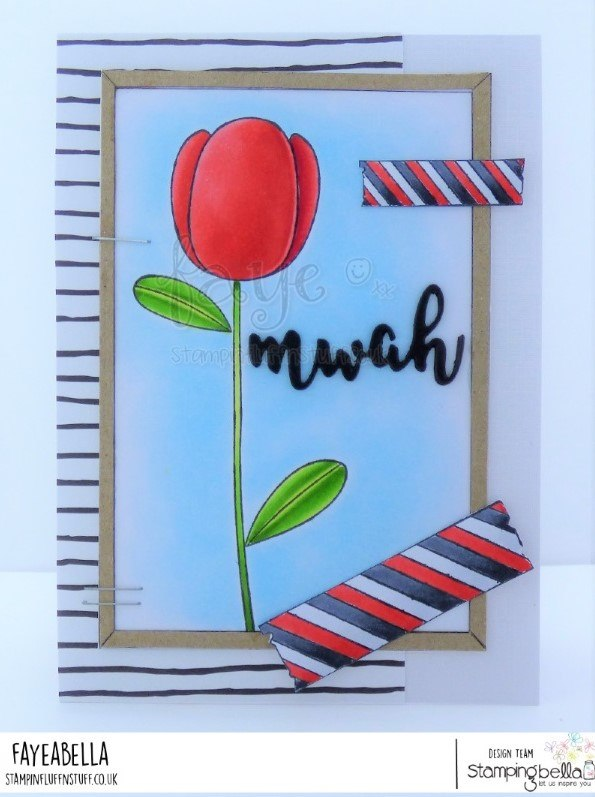 www.stampingbella.com: rubber stamps used: Tulip Floral set, Washi Tape set, Corkboard backdrop and MWAH CUT IT OUT DIE sentiment set