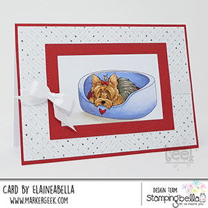 www.stampingbella.com: Rubber stamp used: YORKIE. Card by Elaine Hughes