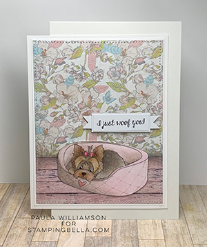 www.stampingbella.com: Rubber stamp used: YORKIE. Card by Paula Williamson