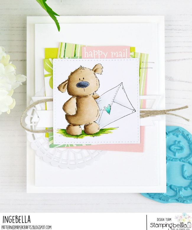 www.stampingbella.com: rubber stamp used HARRY LOVES HAPPY MAIL STUFFIE.  card by Inge Groot