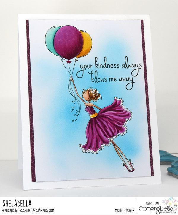 www.stampingbella.com: rubber stamp used UPTOWN GIRL BENTLEY loves BALLOONS . Card by Michele Boyer