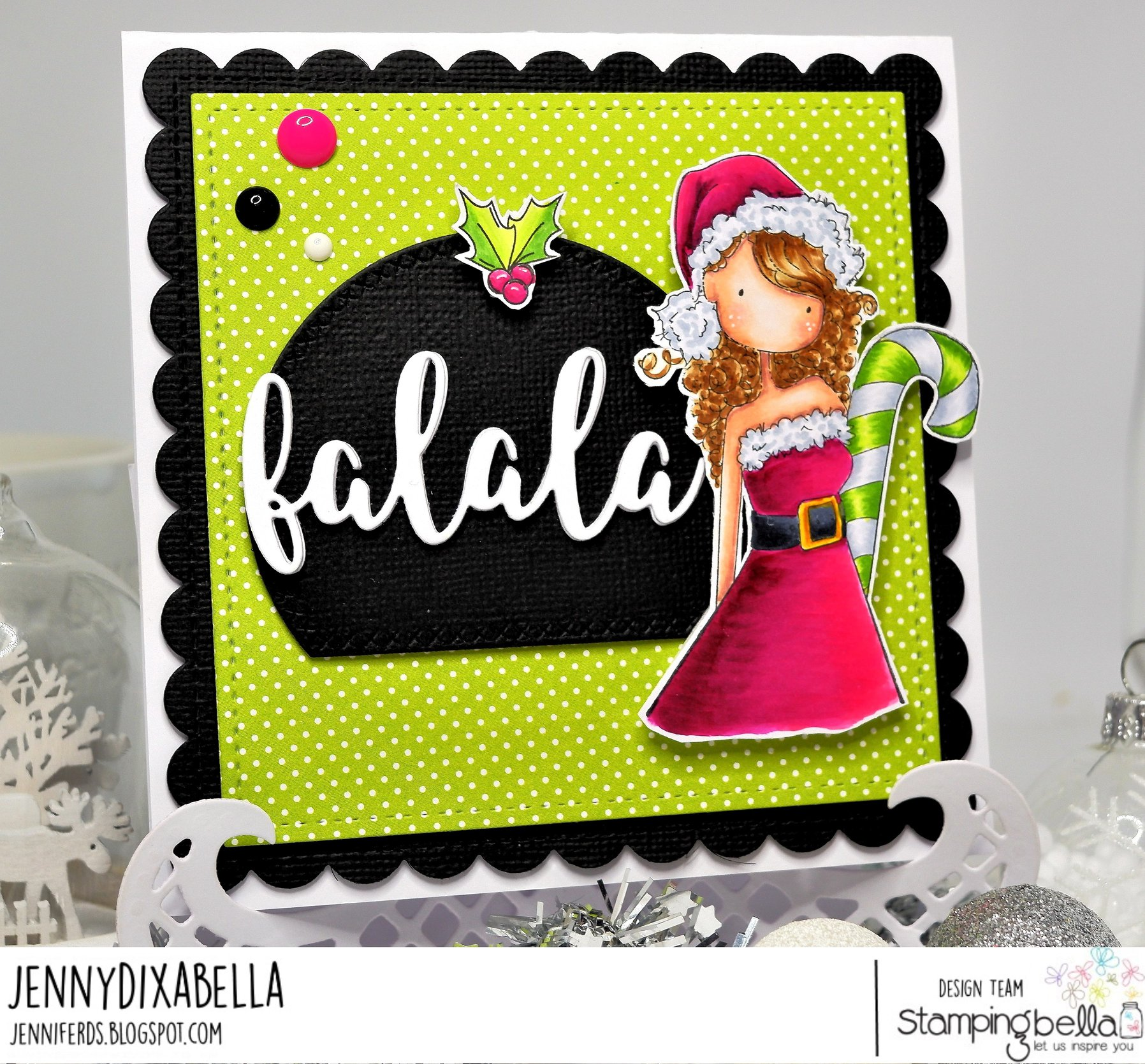 www.stampingbella.com: rubber stamp used UPTOWN GIRL CHRYSTAL's CHRISTMAS LABEL and FALALA CUT IT OUT DIE.  card by Jenny Dix