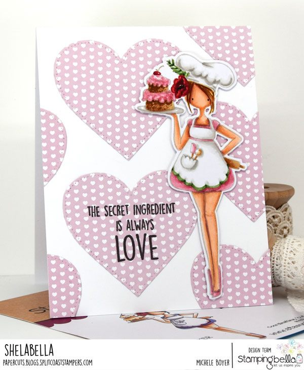 www.stampingbella.com: rubber stamp used CURVY GIRL BAKER. Card by Michele Boyer