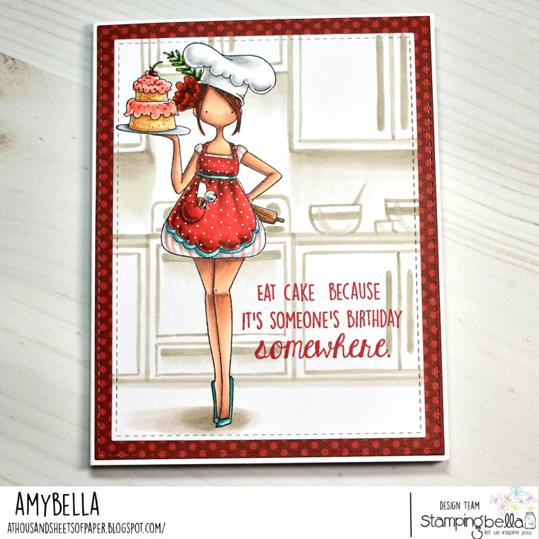 www.stampingbella.com: Rubber stamp used: Curvy Girl Baker. Card made by Amy Young