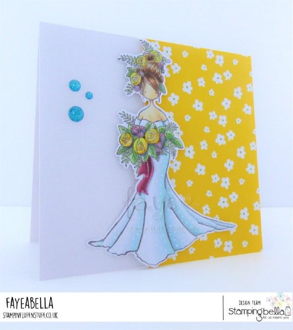 www.stampingbella.com: rubber stamp used: Curvy Girl Bride.  Card by Faye Wynn Jones