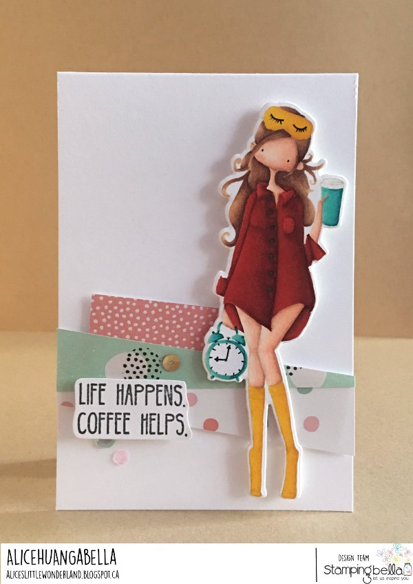 www.stampingbella.com: rubber stamp used: Curvy Girl loves coffee .. card by Alice Huang