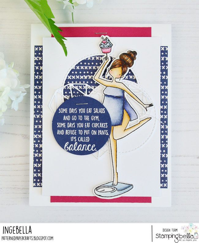 www.stampingbella.com: rubber stamp used CURVY GIRL WITH GOOD BALANCE. Card by INGE GROOT