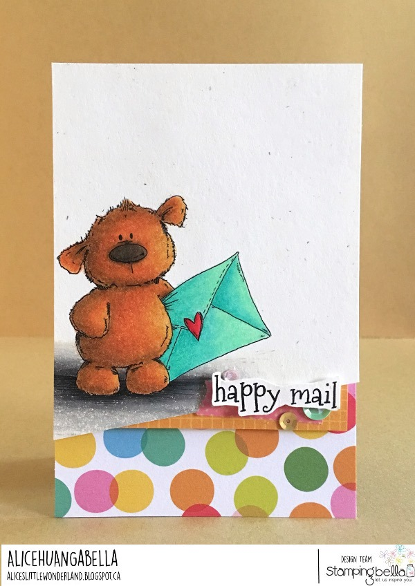 www.stampingbella.com: rubber stamp used HARRY LOVES HAPPY MAIL STUFFIE.  card by ALICE HUANG