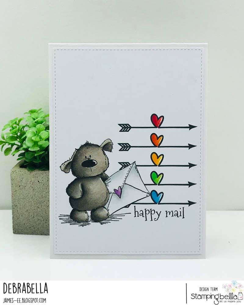 www.stampingbella.com: rubber stamp used HARRY LOVES HAPPY MAIL STUFFIE and UPTOWN SEAL OF APPROVAL SET.  card by Debra James