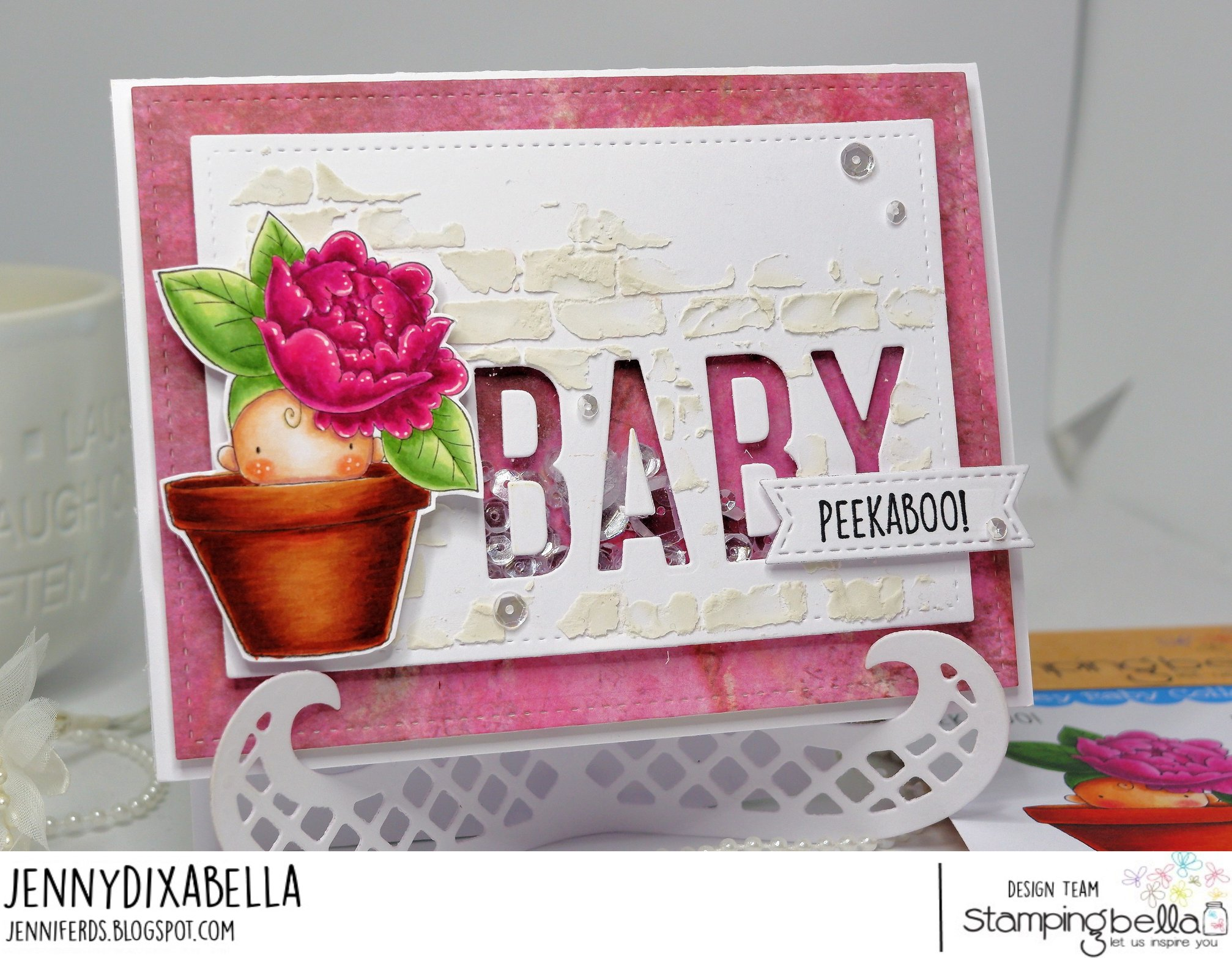 www.stampingbella.com: rubber stamp used Peony baby in a POT . Card by  Jenny Dix