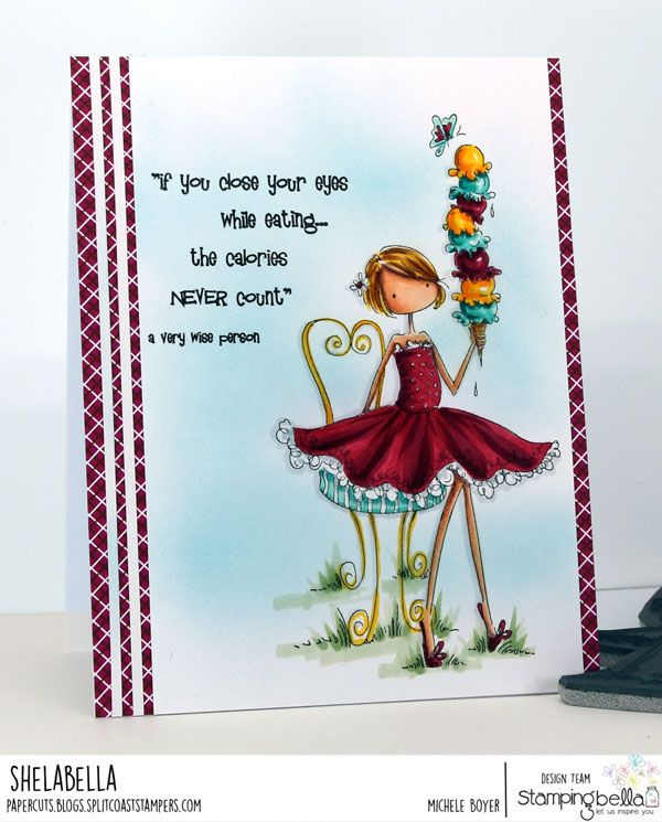 www.stampingbella.com: rubber stamp used: Isabelle loves ICE CREAM.  Card by Michele Boyer
