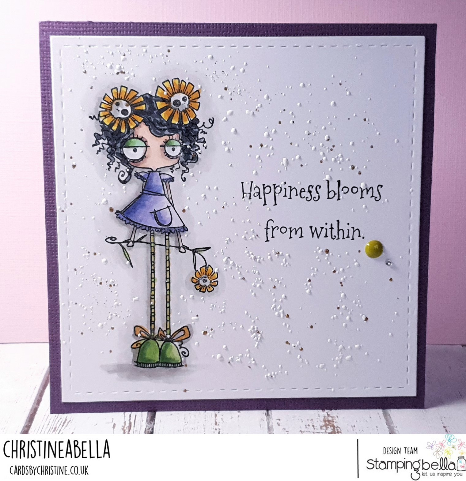 www.stampingbella.com: rubber stamp used LONG STEMMED ODDBALL . Card by Christine Levison