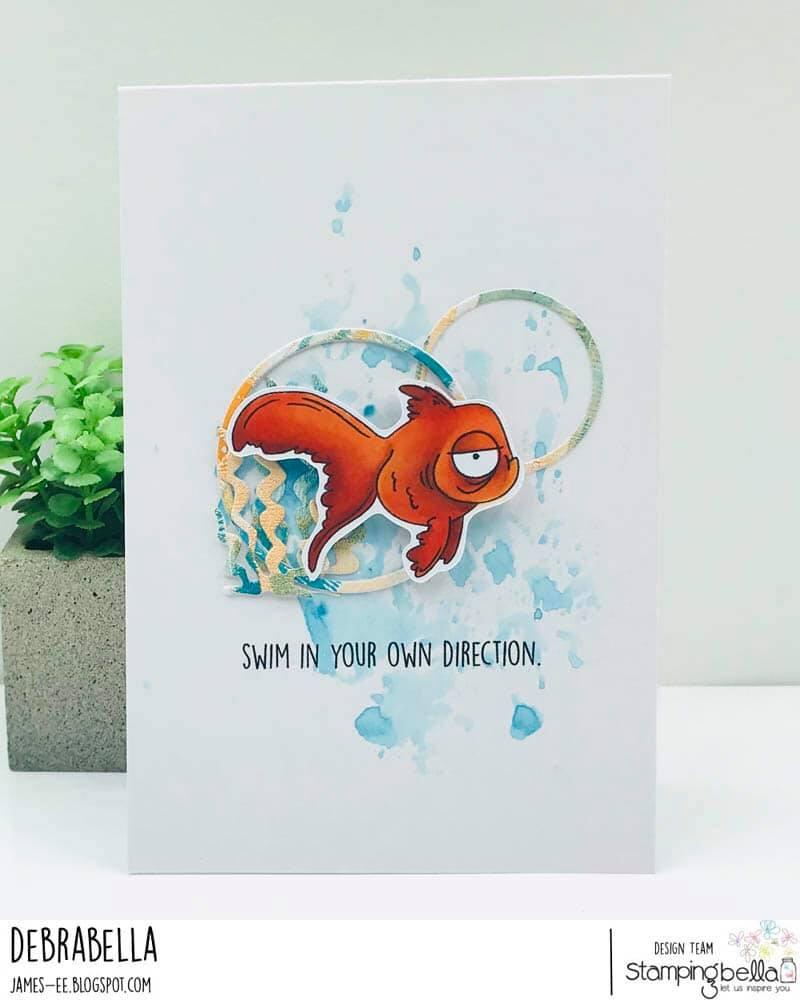 www.stampingbella.com: rubber stamp used ODDBALL FISH SET. Card by DEBRA JAMES
