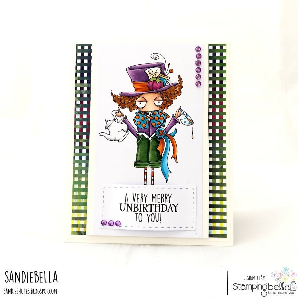 www.stampingbella.com: rubber stamp used ODDBALL MAD HATTER. Card by SANDIE DUNNE