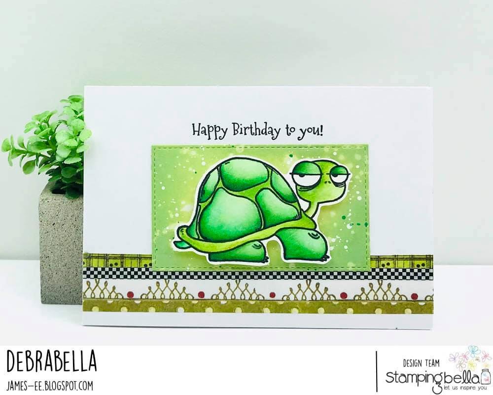 www.stampingbella.com: rubber stamp used ODDBALL TURTLE  Card by Debra James