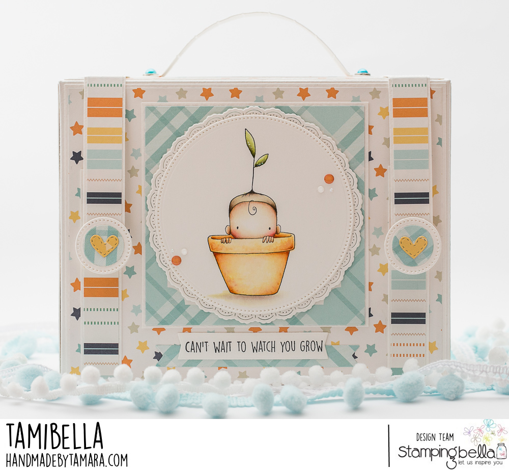 www.stampingbella.com: rubber stamp used: SPROUTED BABY. card by Tammy Potocznik