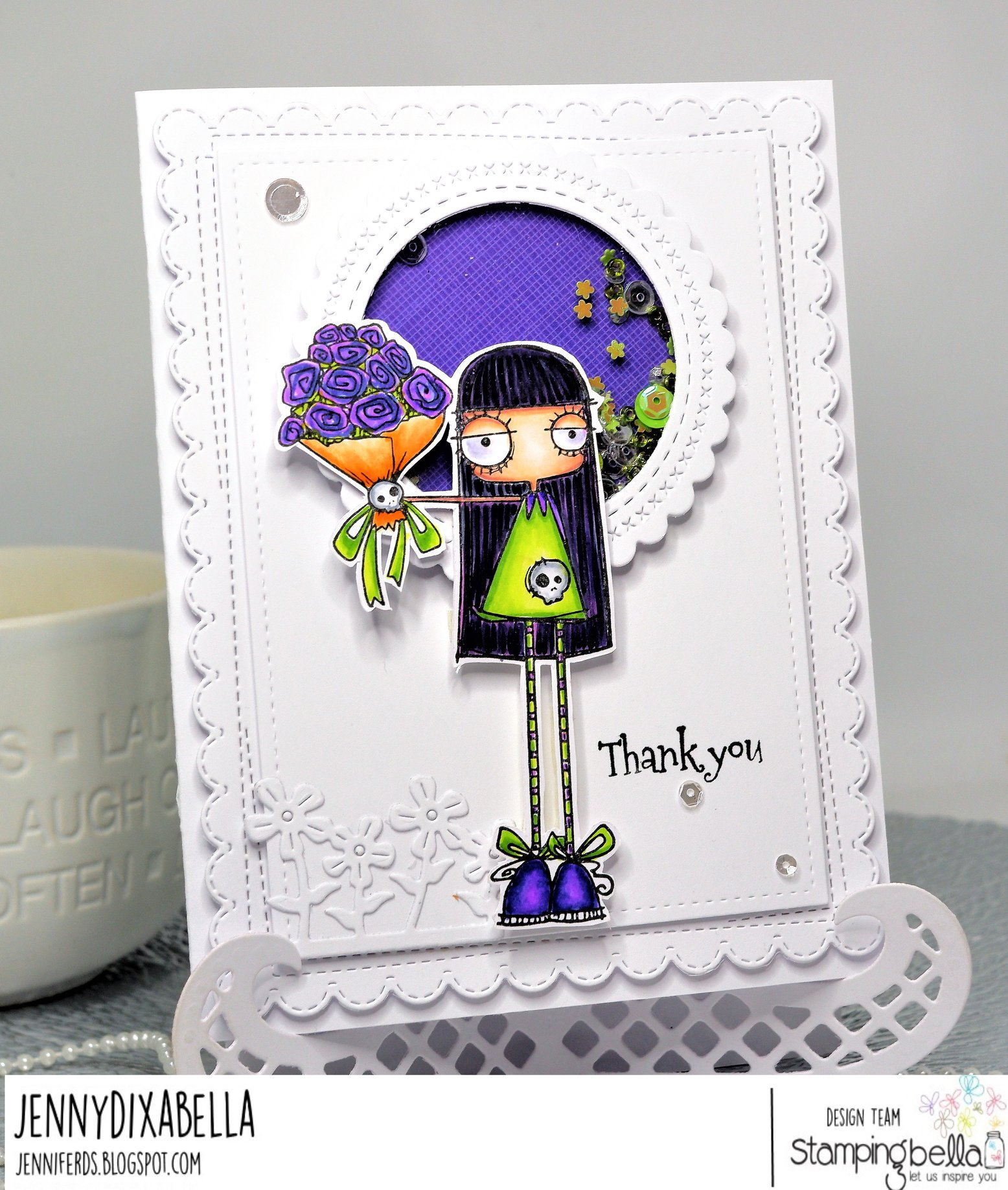 www.stampingbella.com: rubber stamp used ODDBALL BOUQUET. Card by Jenny Dix