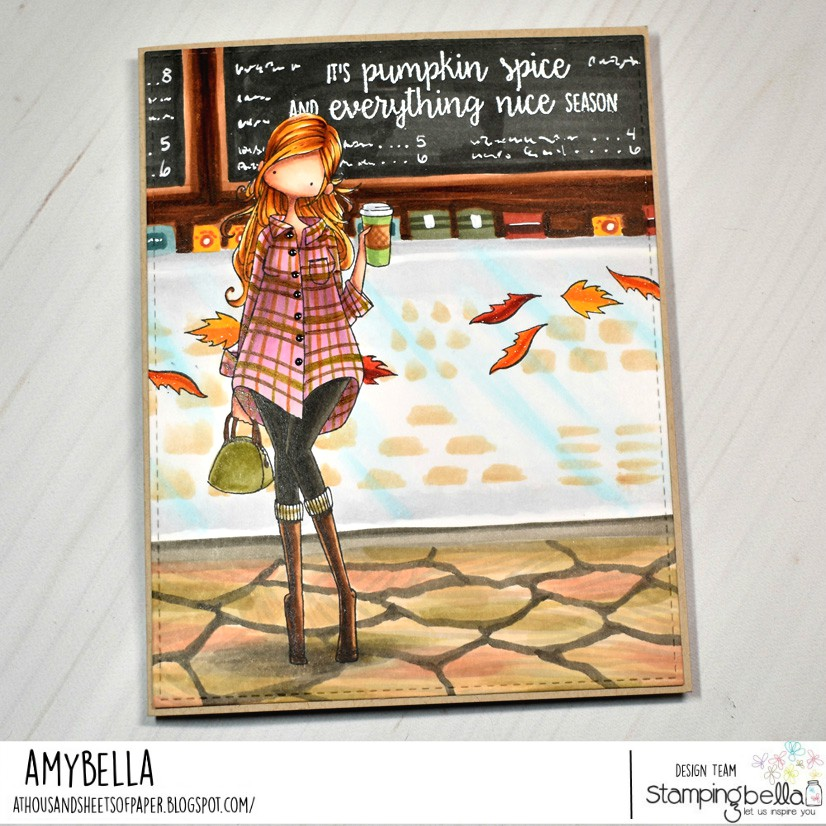www.stampingbella.com: rubber stamp used: CURVY GIRL LOVES COFFEE.  Card by Amy Young