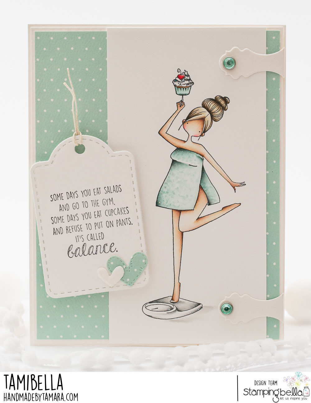 www.stampingbella.com: rubber stamp used CURVY GIRL HAS GOOD BALANCE card by Tamara Potocznik
