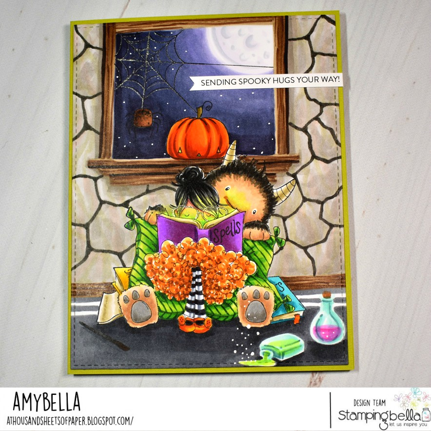 www.stampingbella.com: rubber stamps used: TINY TOWNIE DOROTHY THE DREAMER, LITTLE BITS OUTDOOR HALLOWEEN DECOR.  Card by Amy Young