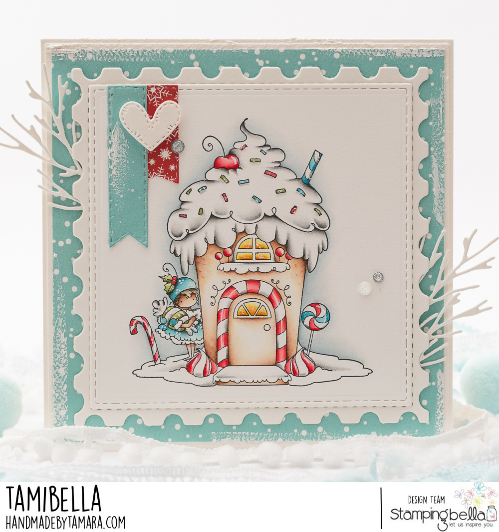 www.stampingbella.com: rubber stamp used: Teeny Tiny Townie GINGERBREAD house.  Card by Tamara Potocznik