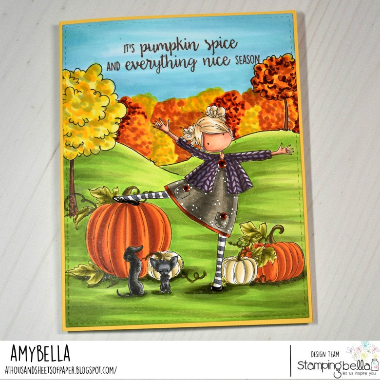 www.stampingbella.com: rubber stamps used Tiny Townie Layla, Summer Backdrop, Party dogs, Set of pumpkins .  card by Amy Young