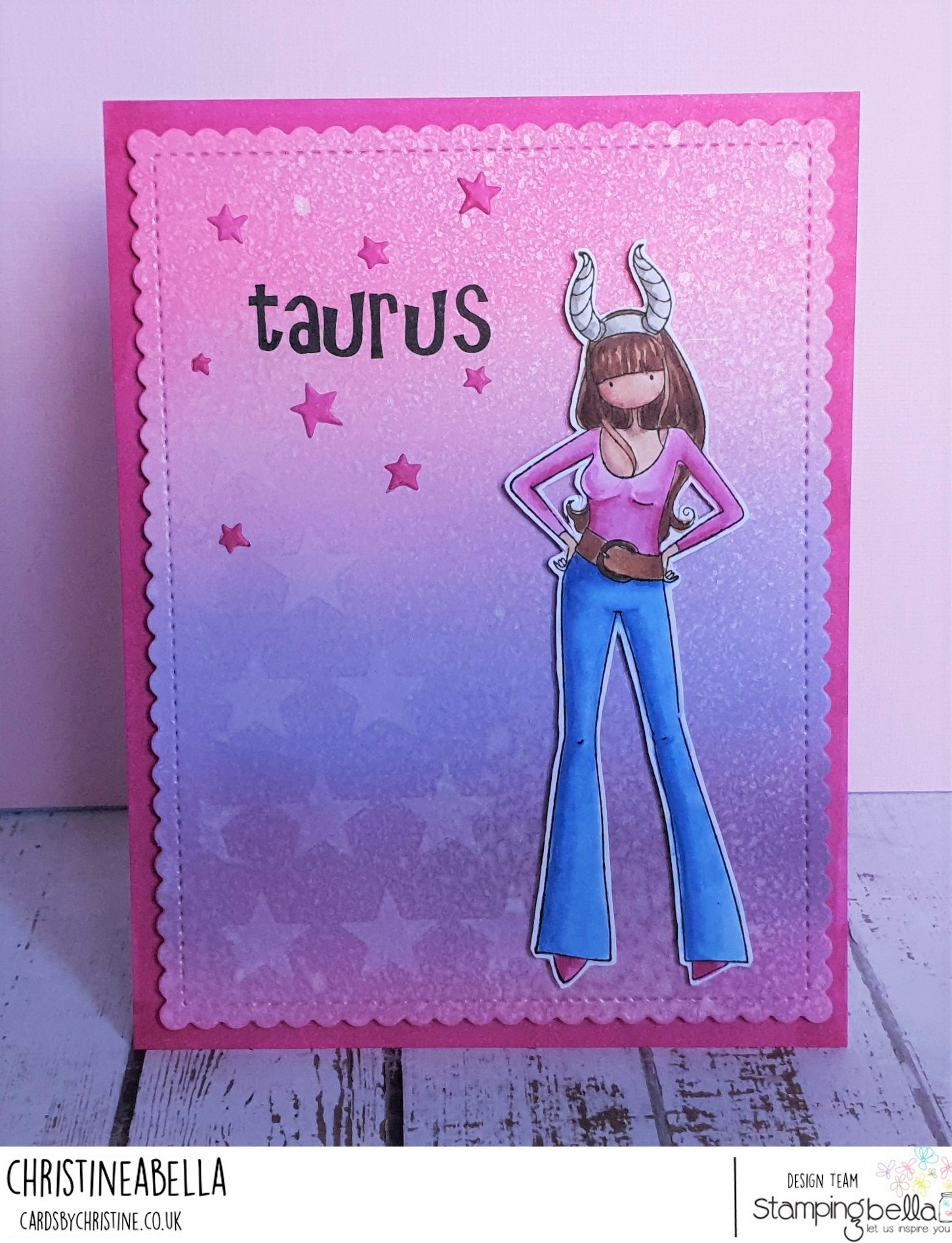 www.stampingbella.com: rubber stamp used: UPTOWN ZODIAC GIRL TAURUS.  Card by Christine Levison