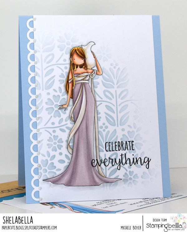 www.stampingbella.com: rubber stamp used: UPTOWN ZODIAC GIRL AQUARIUS.  Card by Michele Boyer