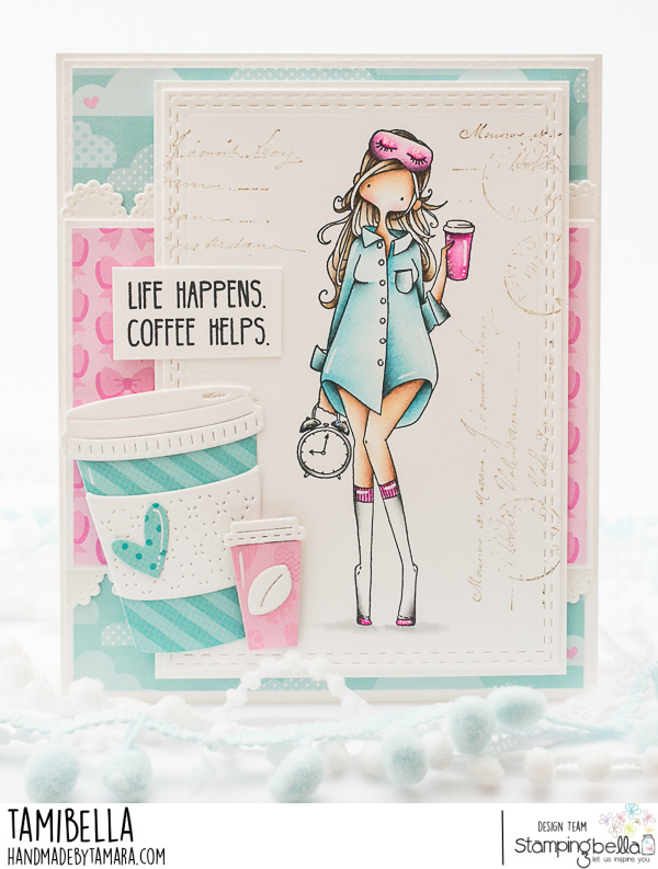 www.stampingbella.com: rubber stamp used CURVY GIRL LOVES COFFEE.  Card by Tamara Potocznik