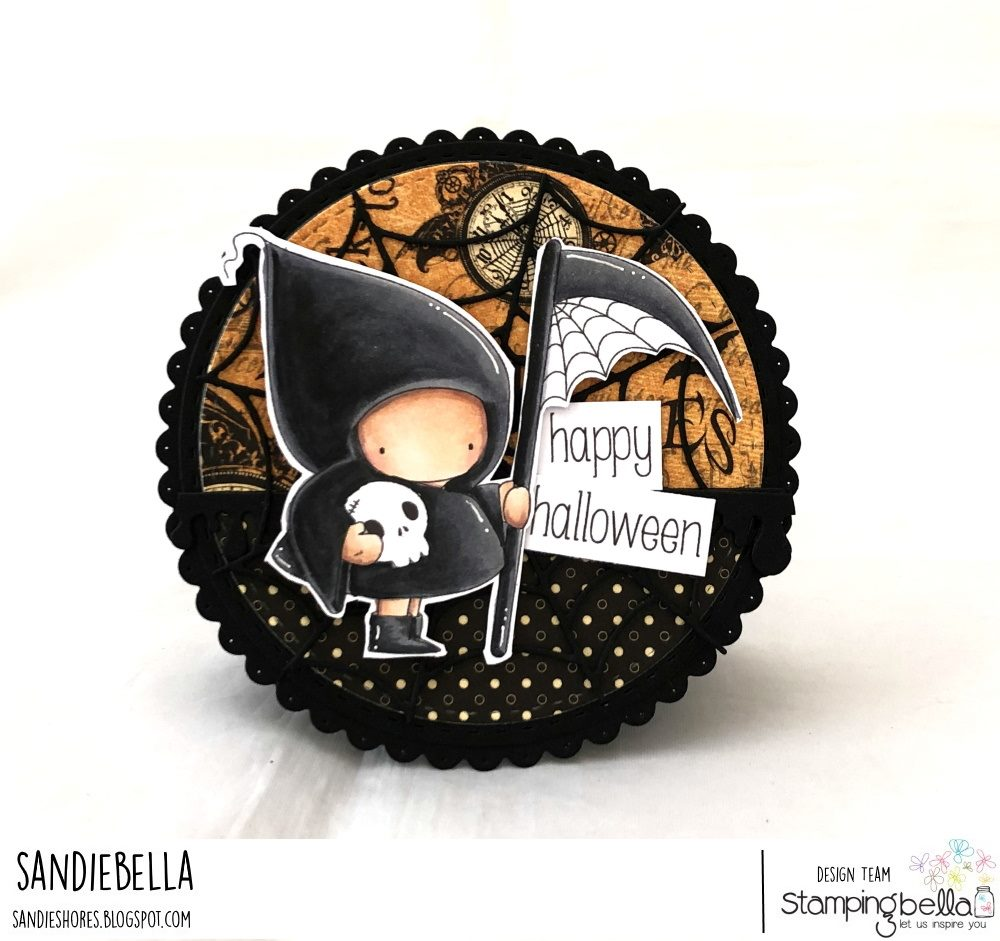 www.stampingbella.com: rubber stamp used; GRIM REAPER BUNDLE GIRL.  card by Sandie Dunne
