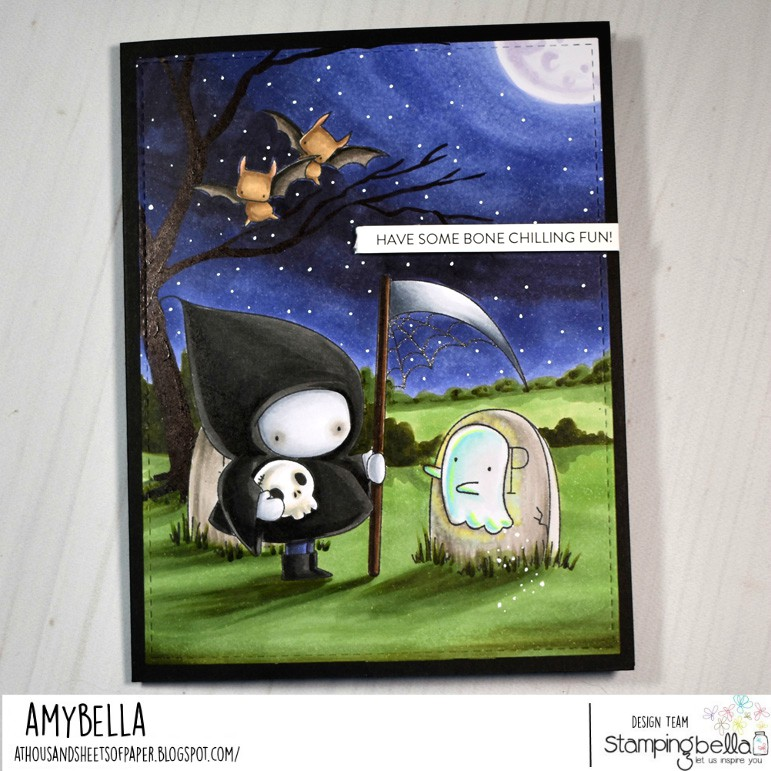 www.stampingbella.com: rubber stamp used: GRIM REAPER BUNDLE GIRL. Card by Amy Young