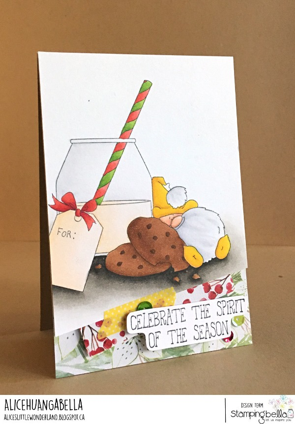 www.stampingbella.com: rubber stamp used; MILK AND COOKIES GNOME card by ALICE HUANG