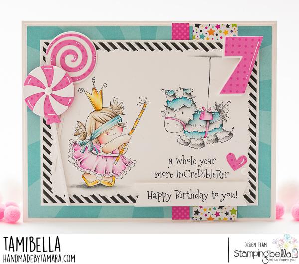 www.stampingbella.com: rubber stamp used PINATA SQUIDGY.. card by Tamara Potocznik