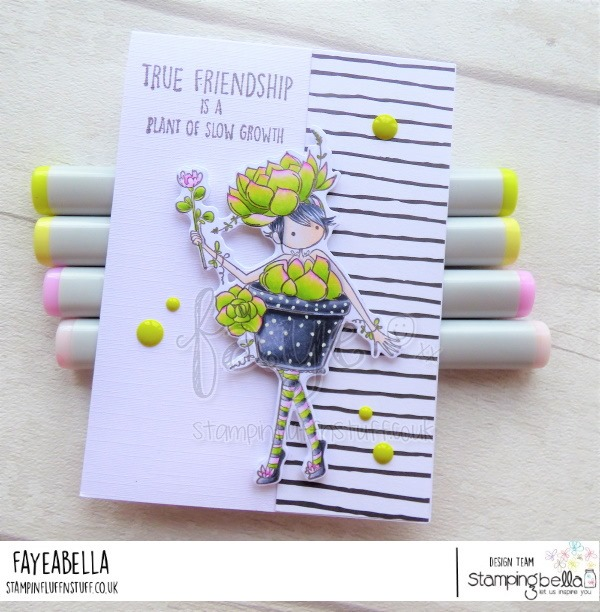 www.stampingbella.com: rubber stamp used: TINY TOWNIE SUSIE THE SUCCULENT. card by FAYE WYNN JONES