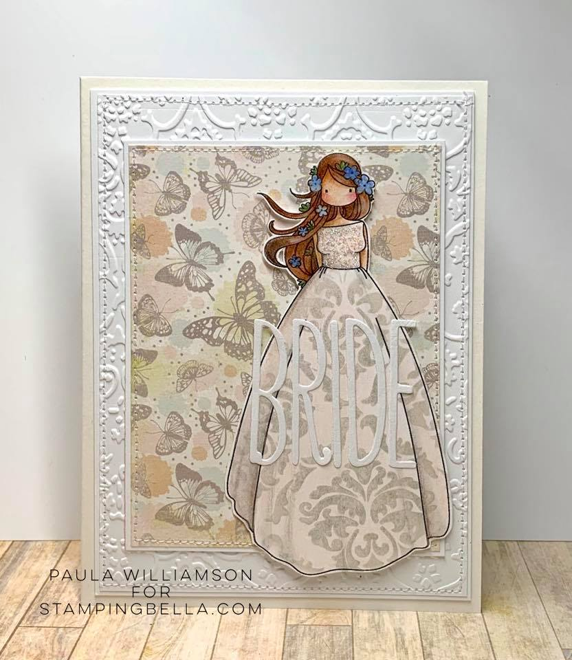 www.stampingbella.com: rubber stamp used: UPTOWN ZODIAC GIRL VIRGO.  Card by Paula Williamson