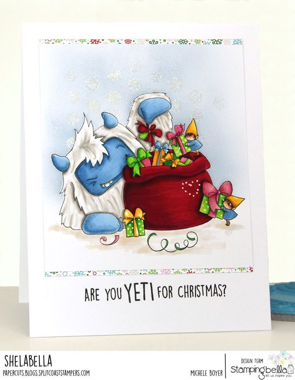 www.stampingbella.com: rubber stamp used;Yeti's LOOT.  card by Michele Boyer
