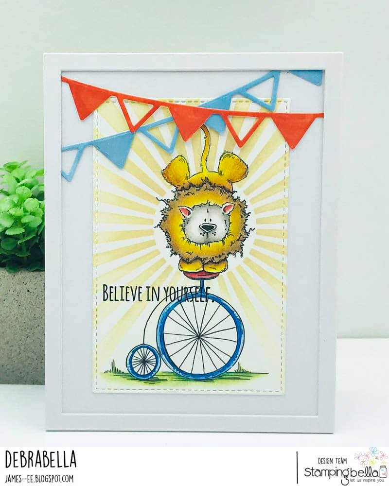 www.stampingbella.com: rubber stamp used: LEO THE BALANCING STUFFIE. card by DEBRA JAMES