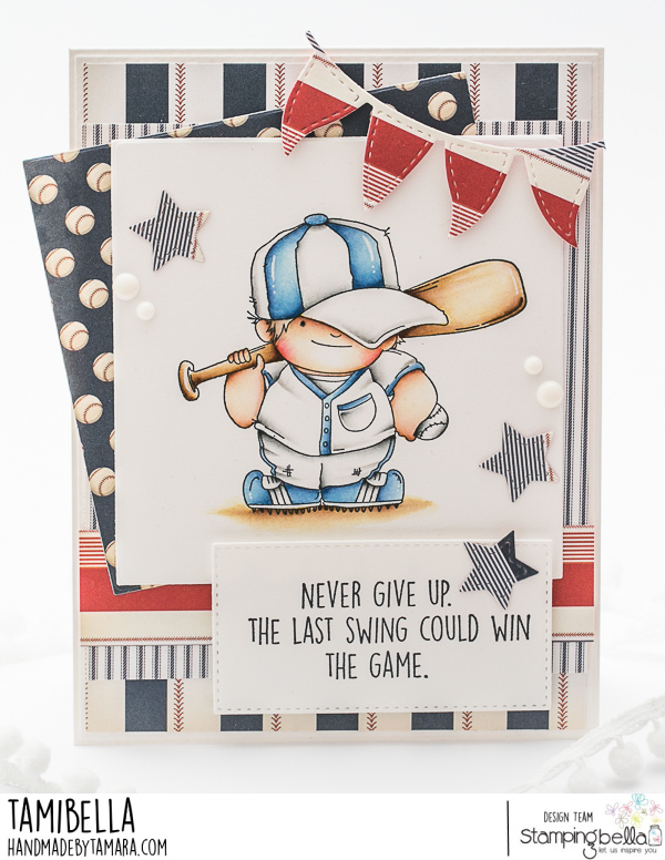 www.stampingbella.com: rubber stamp used BASEBALL SQUIDGY . Card by Tamara Potocznik