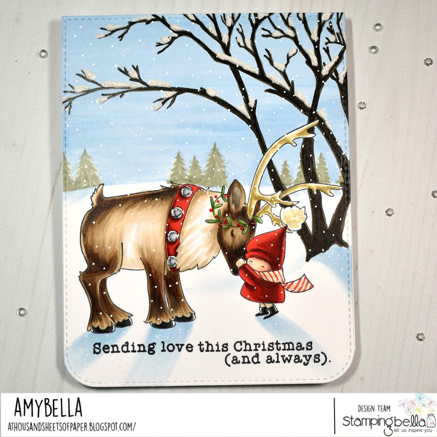 www.stampingbella.com: rubber stamp used : BUNDLE GIRL with REINDEER. Card by AMY YOUNG