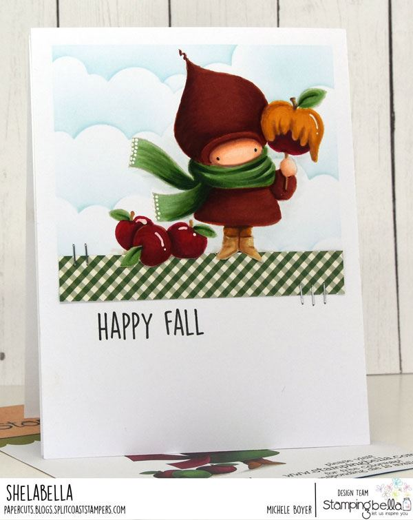 www.stampingbella.com: rubber stamp used: CARAMEL APPLE BUNDLE GIRL and our FALL SENTIMENT SET card by MICHELE BOYER