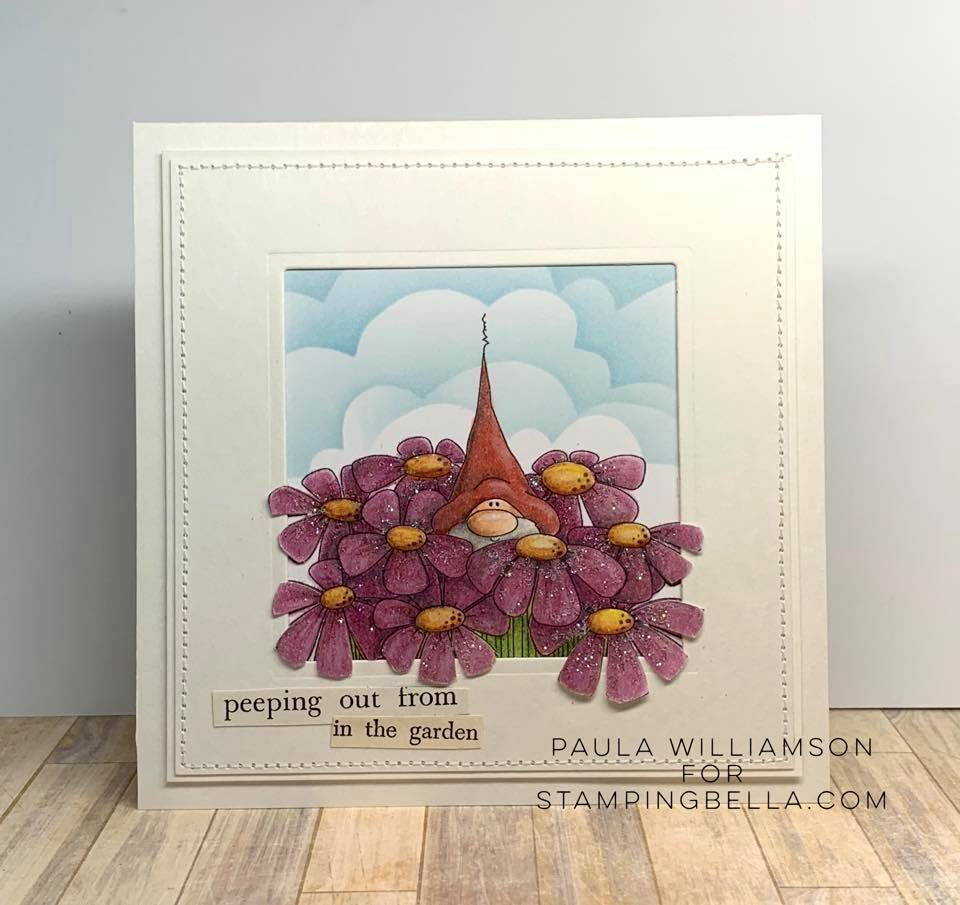 www.stampingbella.com: rubber stamp used: GNOME BOUQUET card by PAULA WILLIAMSON