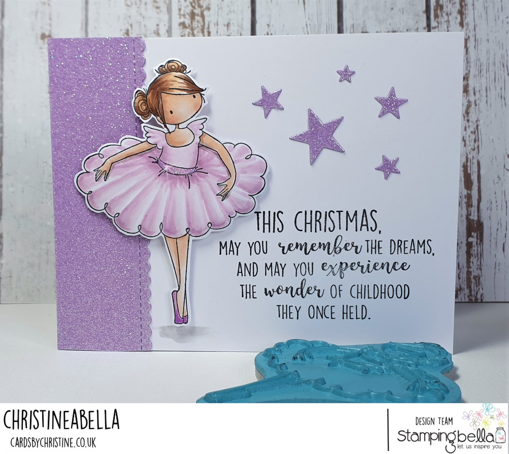 www.stampingbella.com: rubber stamp used: TINY TOWNIE NATALIE and the NUTCRACKER. CARD BY CHRISTINE LEVISON