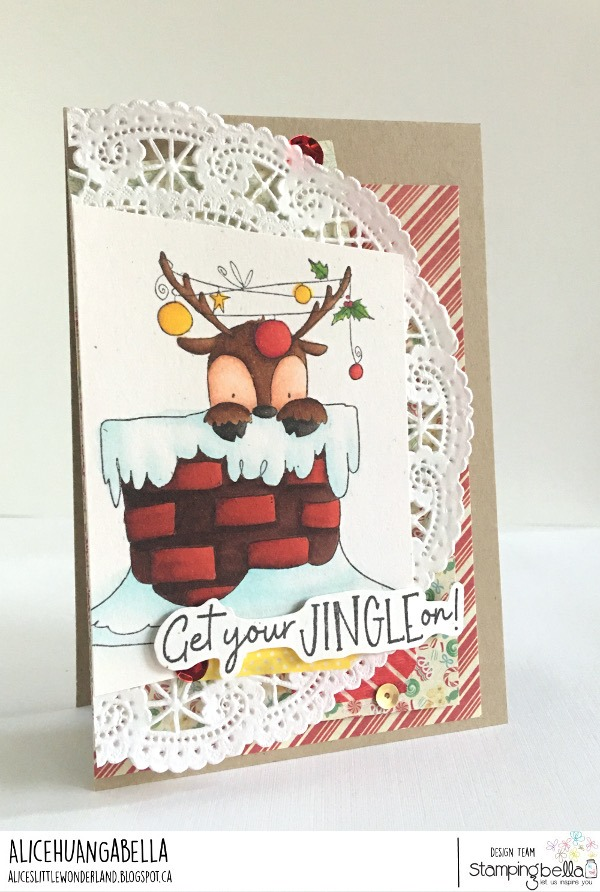 www.stampingbella.com: rubber stamp used: PEEKABOO REINDEER. card by ALICE HUANG